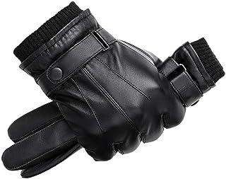 Men Genuine Sheepskin Leather Gloves Autumn Winter Warm Touch Screen Full Finger Black Gloves Men's Gloves