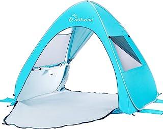 Wolfwise UPF 50+ Easy Pop Up Strand Tält Solskydd Omedelbar Automatisk Portabel Sport Paraply Baby Baldakin Cabana Blå Medium