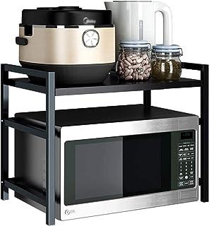 NAN Porte-Four à Micro-Ondes Noir Heavy Carbon en Acier Micro-Ondes Tablette De Rangement De Cuisine Multifonctionnelle, F...