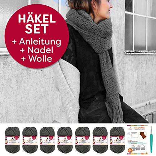 myboshi Häkel-Set Futtsu | aus No.1 | Anleitung + Wolle | mit passender Häkelnadel | XXL-Häkel-Schal | Anthrazit