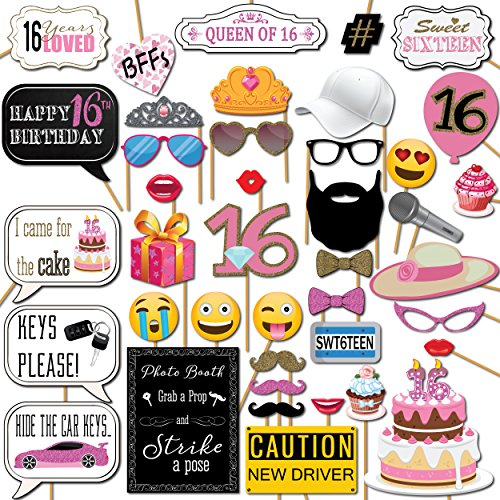 Sweet 16 Photo Booth Props Party Kit 41 Pieces with Wooden Sticks and Strike a Pose Sign by Outside The Booth