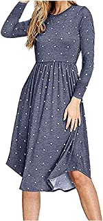YOKST Women's Long Sleeve Dress Elastic Waist Polka Dot Pocket Swing Dress Pleated Cocktail Sexy Casual Midi Dress for Tourism Shopping Get Together Beach Vacation (Color : Light blue, Size : XXL)