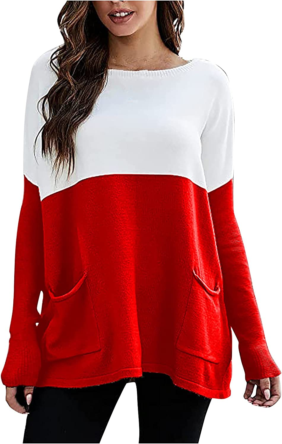 Sweaters for Women Loose Knit Panel Shirt Long Sleeve Round Neck Pullover