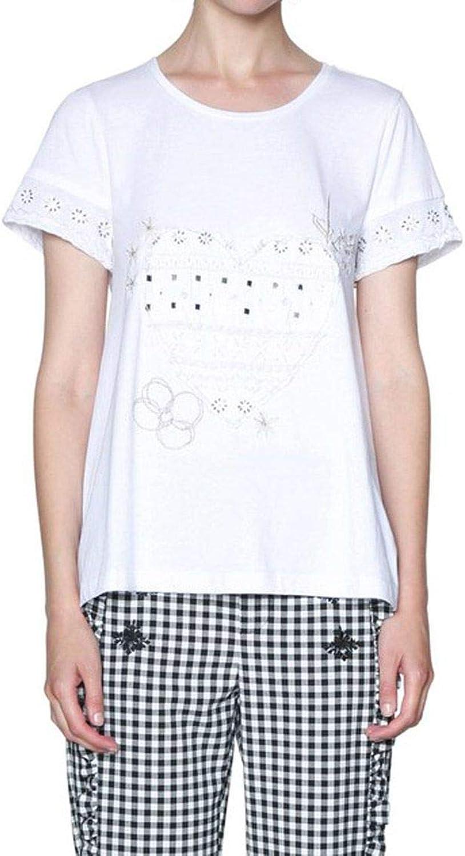 Desigual Women's 18SWTKE0WHITE White Cotton TShirt