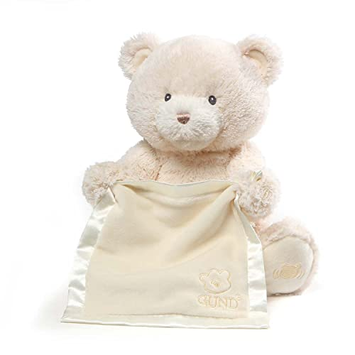 Baby GUND My First Teddy Bear Peek A Boo Animated Stuffed Animal Plush, Cream, 11.5""