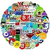 72個ITロゴのグラフィカルなブライダルステッカー、プログラミングコーダー言語シリーズロゴ、Developer Programmer Decoration、C#C ++、Python、JS Java(72パック)