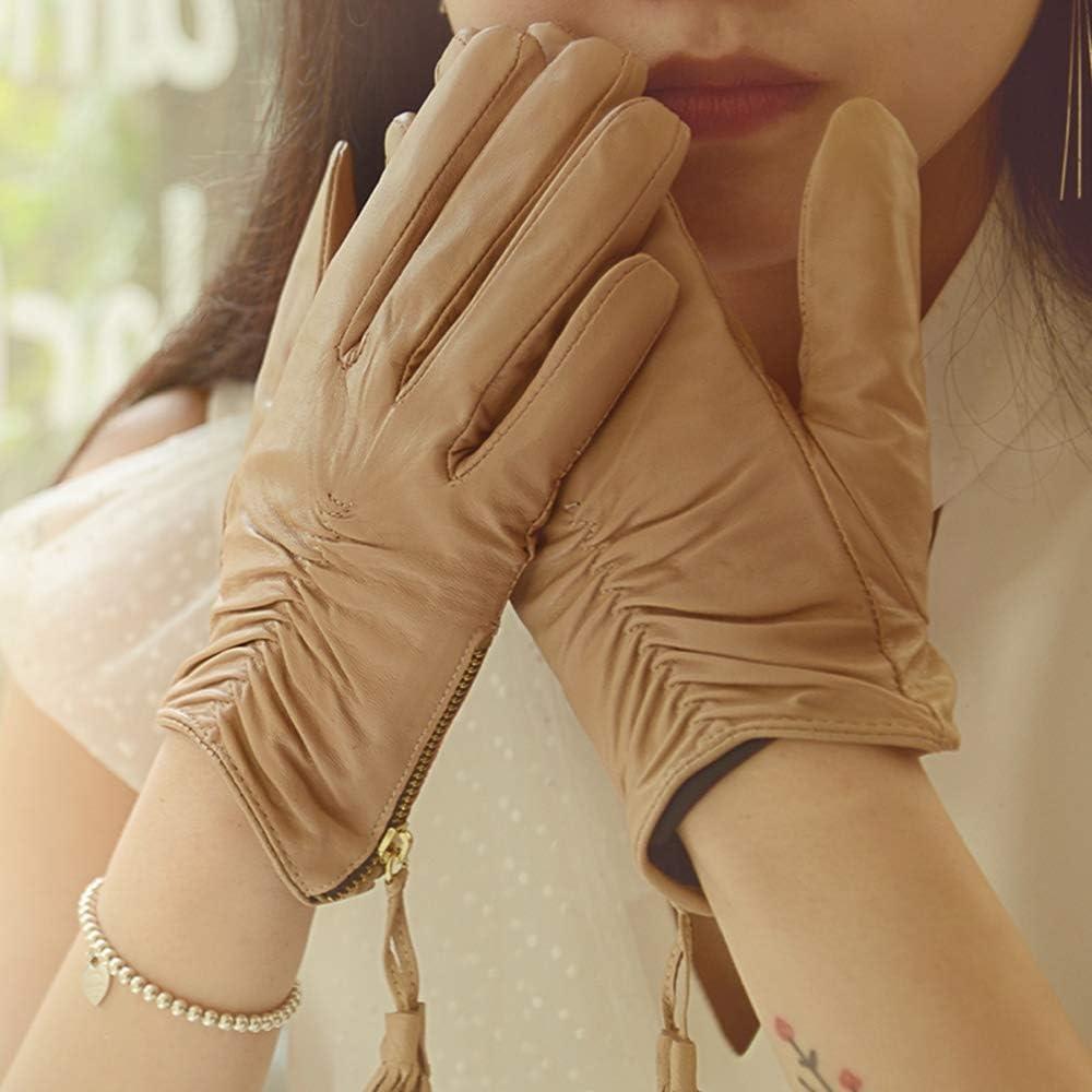 TANKKWEQ Women Winter Gloves WarmLeather Ladies Sheepskin Autumn and Mitten Outdoor Windproof Spring and Autumn Thin Fashion Short Elegant Leather Mitten (Color : Khaki, Size : Medium)