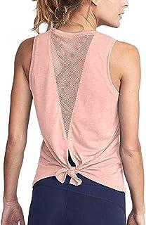 Keliay Bargain Women Cute Yoga Workout Mesh Shirts Activewear Sexy Open Back Sports Tank Tops