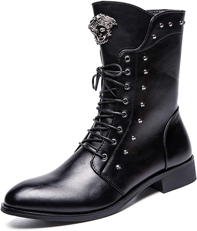 HGDR Mens Martin Boots PU Leather Mid Calf Boot Rivet Side Zip Combat Boots Punk Rock Short Boot Biker Motorcycle Boots