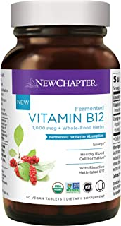 New Chapter Vitamin B12, Fermented Vitamin B12 1, 000 Mcg, One Daily with Whole-Food Herbs + Adaptogenic maca for Natural ...