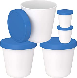Ice Cream Storage Freezer Containers with Silicone Lids (3 Pack, 1- Quart Each) + 2 Serving Cups – Dishwasher Safe - Large Reusable BPA-Free Tub for Homemade Ice-Cream