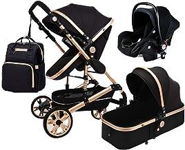 TXTC 3 En 1 Sillas De Paseo Plegable Carro Cochecito De Bebé Absorción De Choque Springs High Vista del Carro De Bebé del Cochecito De Bebé con El Bebé Cesta Y Mami Bolsa Mochila