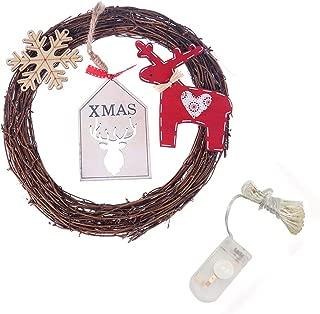 Yinpinxinmao 20LED Circle Wreath Deer Snowflake Rattan Christmas Tree Ornament