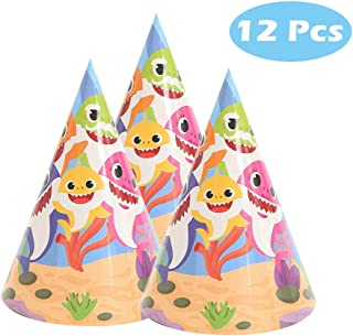 12 Pcs Baby Cute Shark Hat for Birthday Decorations Shark Theme Party