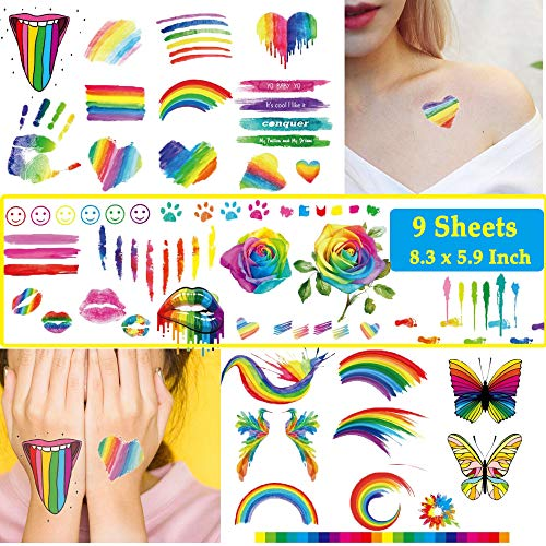 Ooopsi 140PCS Colorful Temporary Tattoos - Rainbow...