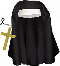 Black & White Catholic Nun Costume Hat w/ Giant Gold Cross Set