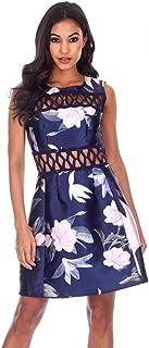 AX Paris Women's Floral Crochet Detail Skater Dress