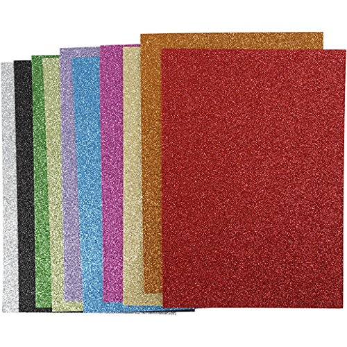 Moosgummi, A4 21x30 cm, Dicke 2 mm, sortierte Farben, Glitter, 10sort. Blatt