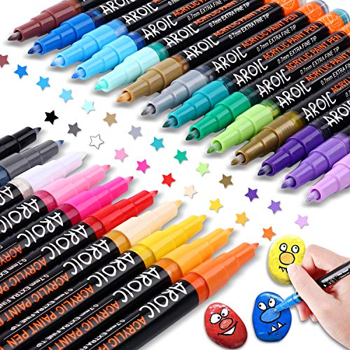 AROIC 24 Pack Acrylic Paint Pens for Rock Painting - Write On Anything! Paint pens for Rock, Wood, Metal, Plastic, Glass, Canvas, Ceramic and More.Plastic, Glass, Canvas, Ceramic and More! (24 PACK)
