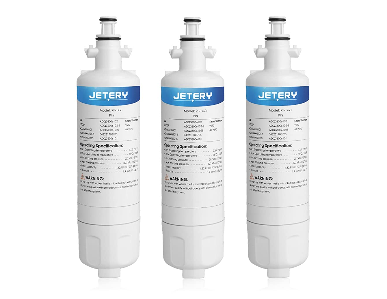 3 Pack LG LT700P Replacement Refrigerator Water Filter, JETERY Compatible With Fridge ADQ36006101 ADQ36006102, Kenmore 9690 46-9690
