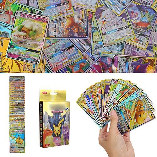 YNK 100 Stücke Sack Karten, EX Flash Karten, GX Sammelkarten, Energy Trainer Karten, Pokemon Kartenspiele für Geschenksammlungen, Wohnkultur, Brettspiele