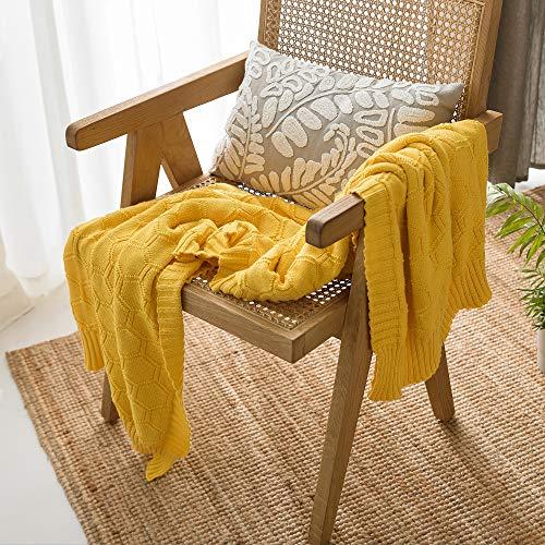 MYLUNE HOME Baumwolldecke Bio Baumwolle Strickdecke Sechseck Kuscheldecke 180x200cm Sofadecke Couchdecke (Gelb)