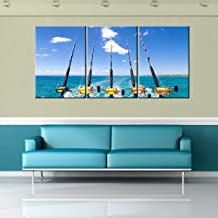 Canvas Wall Art Row of Five Fishing Rod and Reel Pictures Blue Seascape Paintings for Living Room Giclee Fishing Tackle Artwork HD Prints Modern Home Decor Framed Stretched Ready to Hang(60''Wx28''H)