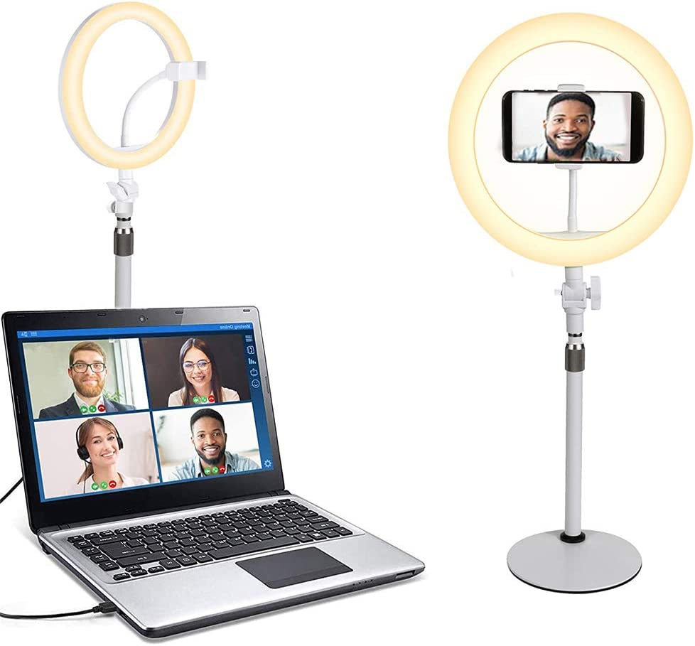 Mecollon 10-inch Desktop Ring El Paso Mall Light with Base Hold Stand Phone Ranking TOP4
