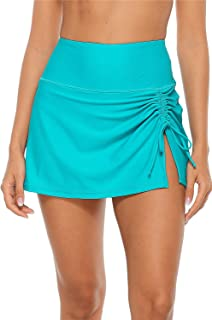 ALove Women Swim Skirt Drawstrings Sides Swim Shorts Bathing Suit Skirted Swimsuit Bottom