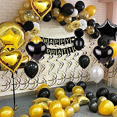 Globos de Graduación, Kit Decoración Graduación, Globos Dorados y Negro Metálicos Decoración Adornos de Fiesta, Guirnaldas Festejo , Graduación Preescolar Universitaria