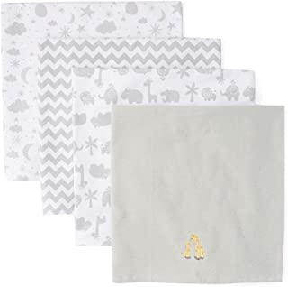 Spasilk Unisex Baby 4 Pack 100% Cotton Flannel Receiving Blanket