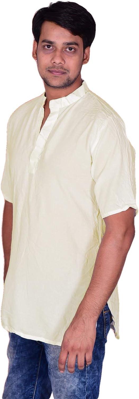 Lakkar Haveli Men's Indian Tunic Button Down Shirts Shirt Kurta Solid Cream Color 100% Cotton Short Sleeve Big Tall