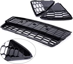 3Pcs Honeycomb Mesh Front Bumper Lower Grills With Triangle Grill Cover Generic Fit For 2012-2014 Ford Focus S/SE