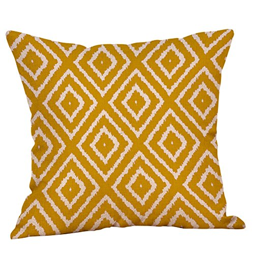 GDBEST Fall Autumn Geometric Cushion Cover Soft Decorative Pillow Case Mustard Yellow Pillow Cover Creative Colorful Pillowcase for Sofa Cafe Car Couch Bed Home Decor Pillow Case(18' x 18')