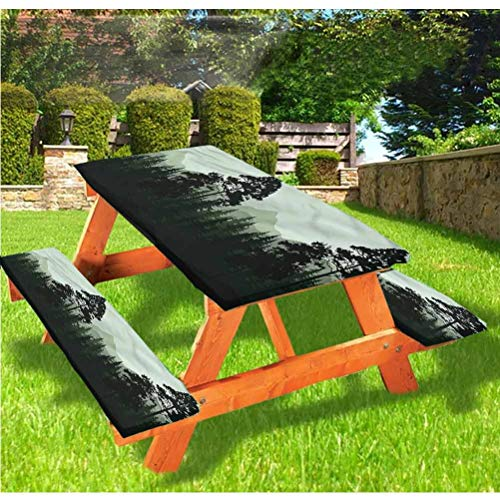 Landscape Picnic Table and Bench Fitted Tablecloth Cover,Forest Trees at Night Elastic Edge Fitted Tablecloth,28 x 72 Inch, 3-Piece Set for Camping, Dining, Outdoor, Park, Patio