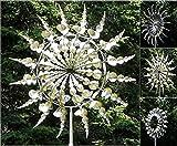 WENJIE Sculpture Unique et Magique de capteur de Vent de Moulin à Vent en métal Qui se déplace avec Le Vent Les moulins à Vent de pelouse sont utilisés pour Silver-35 * 35cm