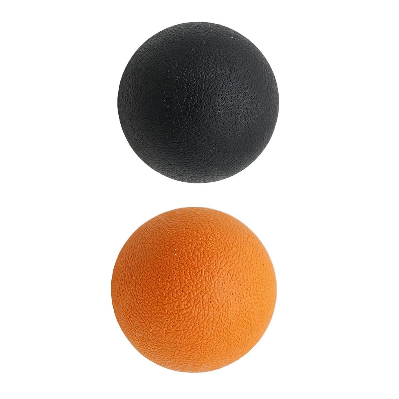 承知しました発表養うKesoto 2個 マッサージボール ラクロスボール 背部 トリガ ポイント マッサージ 多色選べる - オレンジブラック