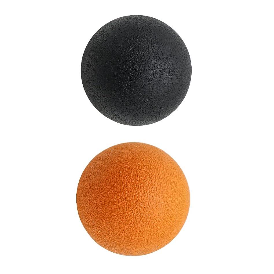 修理可能おなかがすいた試用Kesoto 2個 マッサージボール ラクロスボール 背部 トリガ ポイント マッサージ 多色選べる - オレンジブラック