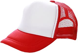 Opromo Kids 2 Tone Mesh Curved Bill Trucker Cap, Adjustable Snapback, 23 Colors-Red/White-1 Pieces