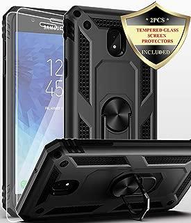 Dahkoiz Galaxy J3 Star Case with Glass Screen Protector Ring Holder Kickstand Cover Phone Case for Samsung Galaxy Express Prime 3/Amp Prime 3/J3 Orbit/J3 Achieve/Sol 3/J3 V 3rd Gen/J3V 2018,Black