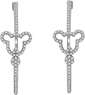 Thanksgiving Gift 925 Sterling Silver Mickey Mouse Diamond Hoop Earrings (0.54 Ct, Clarity-I2, Color-J)