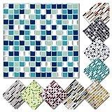 Grandora 4 Adhesivos 25,3 x 25,3 cm Azul Turquesa Plateado Etiqueta Adhesiva Design 2 I 3D Diversidad lámina para Azulejos y baldosas Cocina de baño Pegatina de Pared decoración de Azulejos W5575