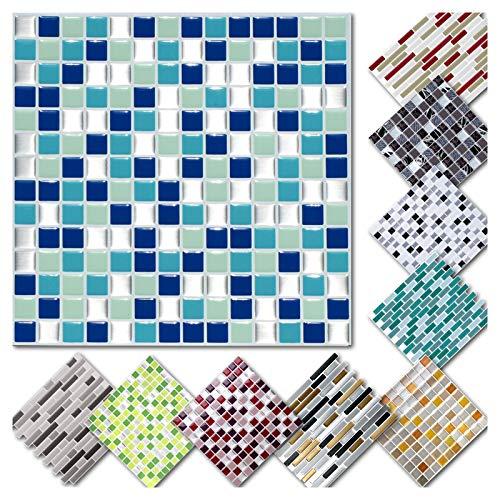 Grandora 4 Adhesivos 25,3 x 25,3 cm Negro Blanco Plateado Etiqueta Adhesiva Design 1 I 3D Diversidad l/ámina para Azulejos y baldosas Cocina de ba/ño Pegatina de Pared decoraci/ón de Azulejos W5575