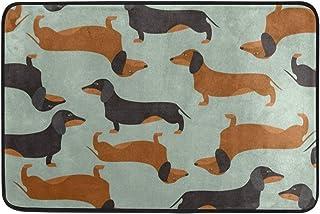 Vintage Dachshund Puppy Dog Door Mat 24 x 16 Inch Absorbs Mud Doormat No Odor Durable Anti-Slip Rubber Back Entrance Door Mats Rug Large Cotton Shoe Scraper Pet Mat Indoor Outdoor Machine Washable