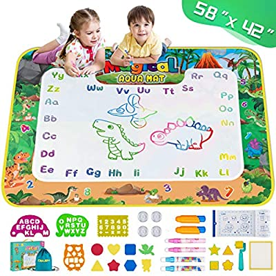 Obuby Aqua Magic Doodle Mat Kids Extra Large Dinosaur Water Drawing Coloring Mats Educational Toys Gifts for Boys Girls Toddlers Age 3 Up 58 x 42 Inches