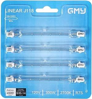 4-Pack R7S 118mm T3 300W Halogen Bulb Dimmable 4500lm J-Type 120V R7S Base Warm White 2700K Double Ended Halogen Light Bulbs