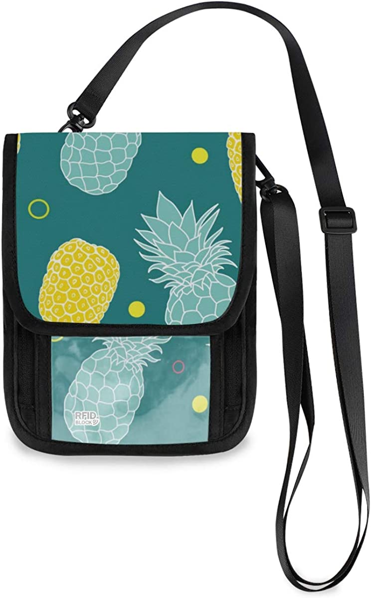 VIKKO Summer Max 75% OFF Colorful Pineapples Travel Cheap SALE Start RFID B Neck With Wallet