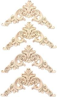 LIOOBO 4 Piezas de Madera Tallada onlay Apliques sin Pintar Muebles para el hogar decoración