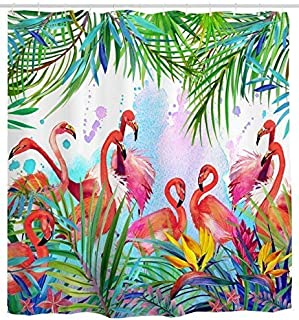 d9607dc0bb Mimihome Flamingo Shower Curtain, Flamingos with Tropical Leaves and  Flowers Pattern Waterproof and Anti Mildew