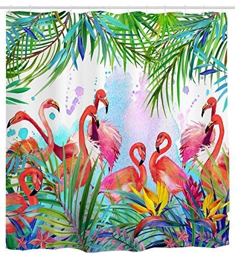 Mimihome Flamingo Shower Curtain, Flamingos with Tropical Leaves and Flowers Pattern Waterproof Fabric Bathroom Shower Curtains, 72W by 72H, Pink Green